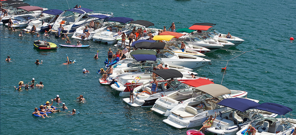 Cobalt Owners on their Boats and in Water and Lined Up at Tampa Bay Fall Boat Show
