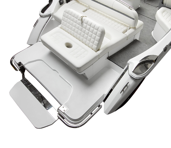 R Series Boat with Patented Flip Step Platform that Lowers Beneath the Surface of the Water