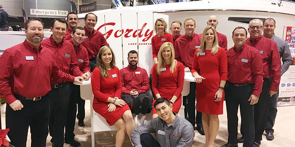 Gordy's Marine Staff in Red Shirts at Chicago Boat Show